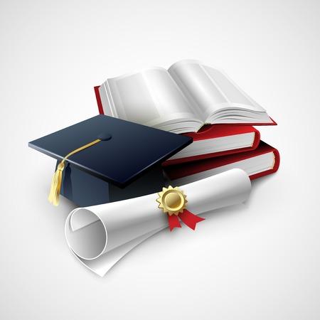 graduado: Objetos para la ceremonia de graduación. Ilustración del vector EPS 10