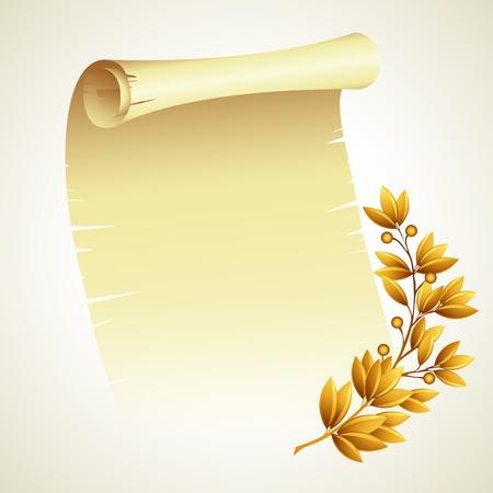 laurel branch: Laurel branch and a scroll. Vector illustration EPS 10