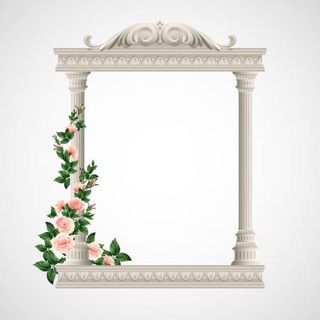 Portico an ancient temple. Colonnade.  Vector Illustration EPS 10