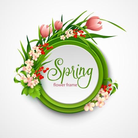 marcos redondos: Marco del resorte con las flores. Ilustración del vector EPS 10 Vectores