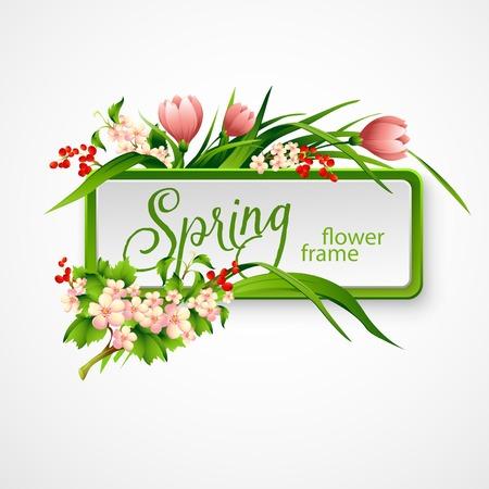 � spring: Marco del resorte con las flores. Ilustraci�n del vector EPS 10 Vectores