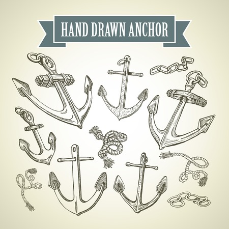 water anchor: Sketch Hand drawn anchor. Set of vector illustrations