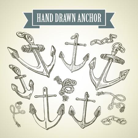 anchor: Sketch Hand drawn anchor. Set of vector illustrations
