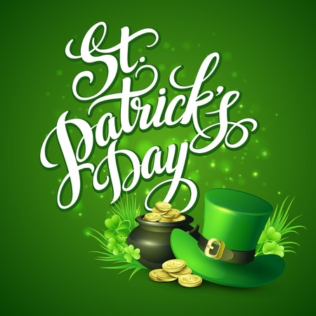 golden pot: St. Patricks Day greeting. Vector illustration EPS10