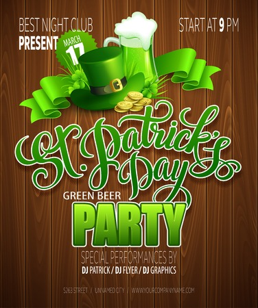 golden pot: St. Patricks Day poster. Vector illustration EPS 10 Illustration