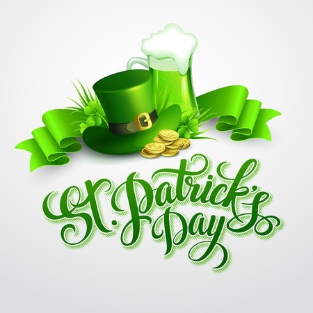 gold leaf: St. Patricks Day poster. Vector illustration EPS 10 Illustration