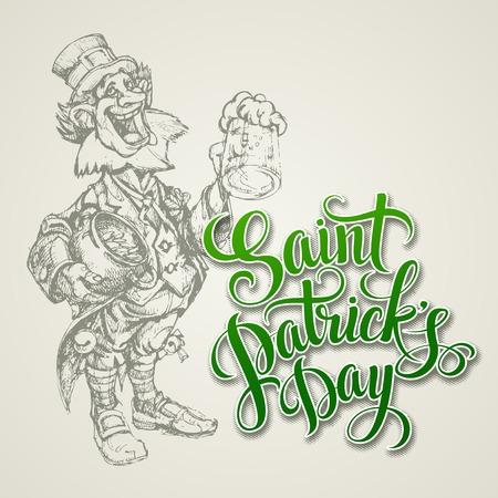 saint patrick s day: Leprechaun. St. Patricks Day vector illustration EPS10