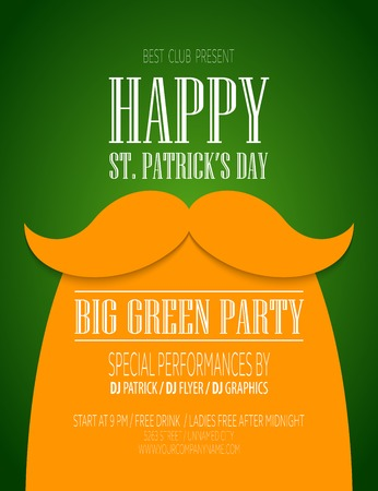 St. Patrick Day poster with a mustache and hat EPS10 Vector