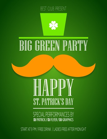 leprechaun hat: St. Patricks Day poster with a mustache and hat EPS10