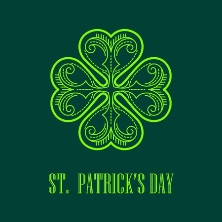 st patrick day: Linear monogram Saint Patricks Day card. Vector illustration