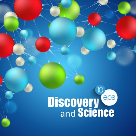 Chemical Science and discovery. Vector illustration. Molecule and flasks Illustration