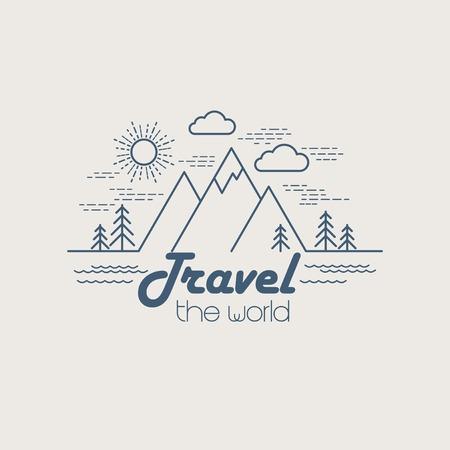 Flat lineaire landschap. Travel logo concept. EPS 10