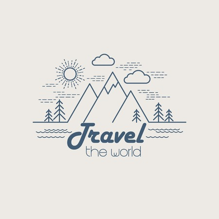 snow mountains: Flat linear landscape. Travel logo concept. EPS 10
