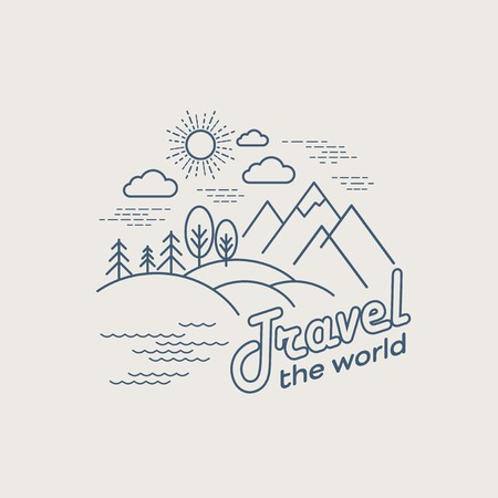 mountain holidays: Flat linear landscape. Travel logo concept. EPS 10