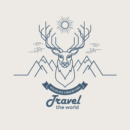 bear silhouette: Wild animals. Flat line illustration. Logo design
