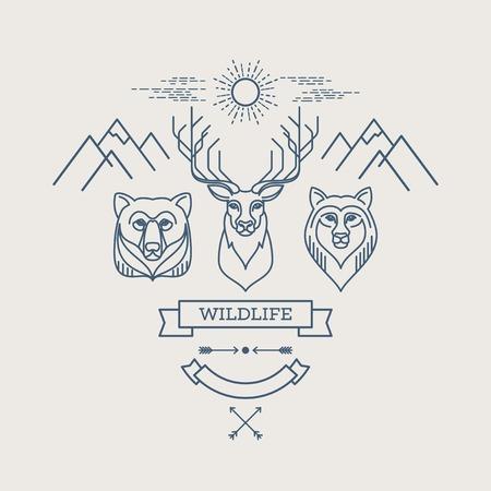 Wild animals. Flat line illustration. Logo design