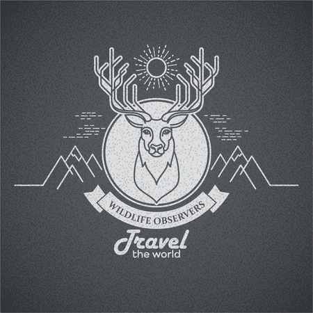 pretty head: Wild animals. Flat line illustration. Logo design