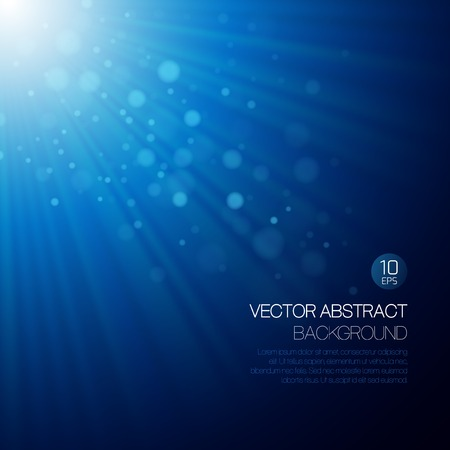 light color: Vector blue abstract background with glowing rays