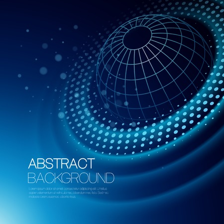 Vector abstract color background with glowing space orbit Ilustração