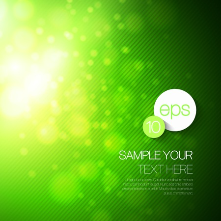 Vector abstract technology background with green bokeh light Illustration