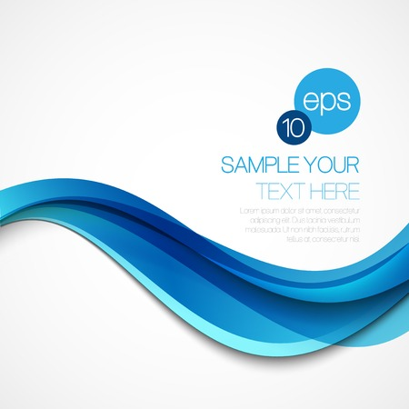 Abstract background with blue wave. Vector illustration