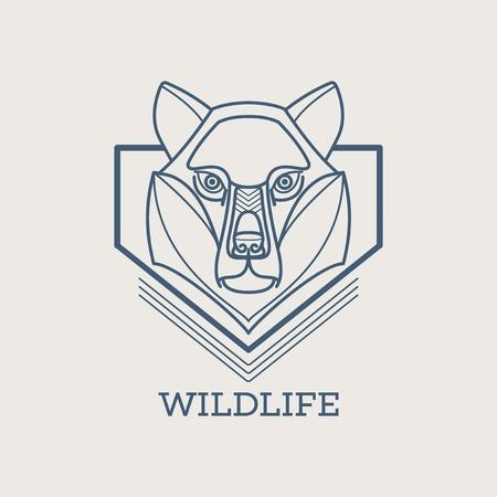 Wolf linear art icons. Vector illustration Vector