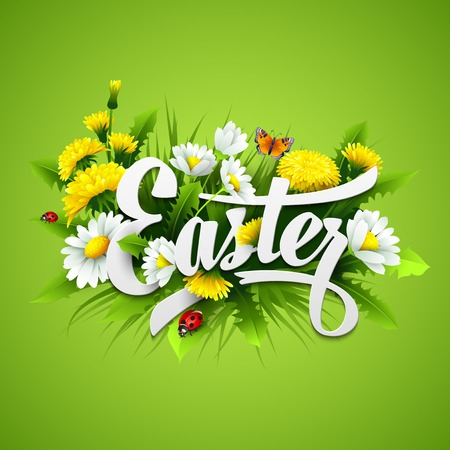 Title Easter with spring flowers. Vector illustration Stock Vector - 37016409