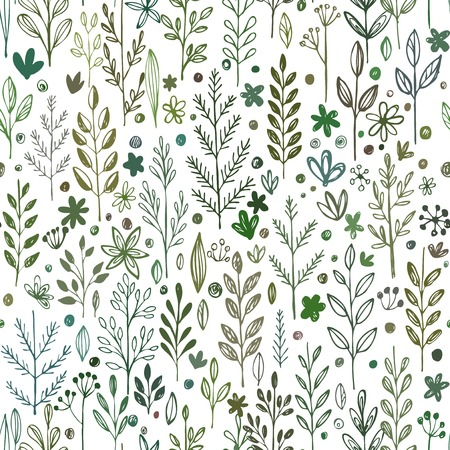 Seamless hands drawn spring pattern with grass and flowers. Vector illustration