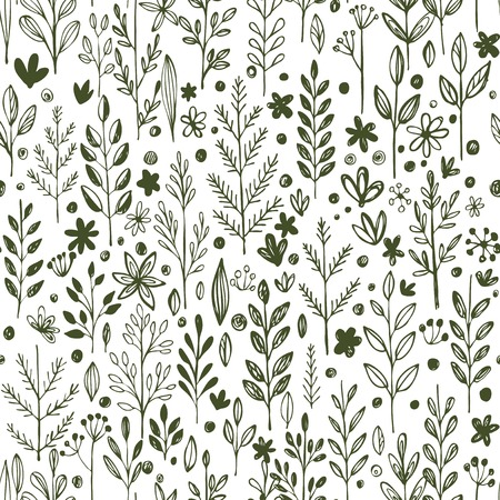 botanical drawing: Seamless hands drawn spring pattern with grass and flowers. Vector illustration