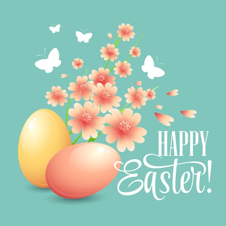 pasch: Easter card with eggs and flowers. Vector illustration Illustration