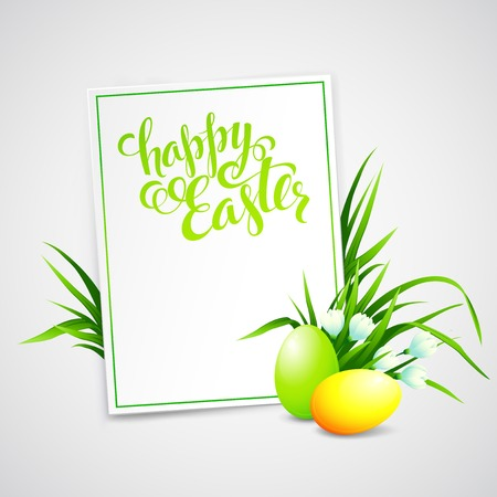 Easter card with eggs and flowers. Vector illustration Illustration