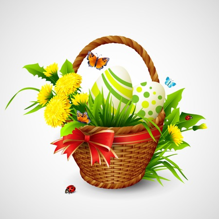 Easter card with basket, eggs and flowers. Vector illustration Vector