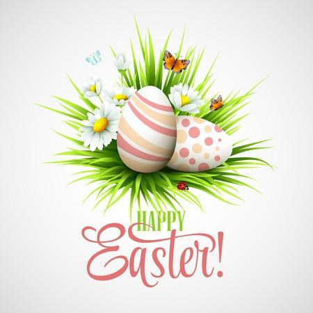 De kaart van Pasen met eieren en bloemen. Vector illustratie EPS10