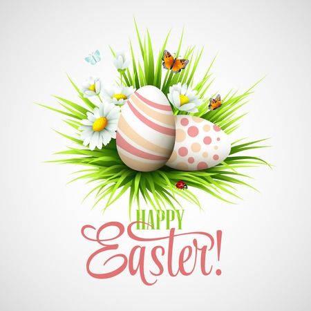 Easter card with eggs and flowers. Vector illustration EPS10 Stock Vector - 37017483