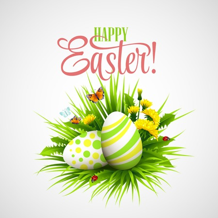 easter decorations: Easter card with eggs and flowers. Vector illustration