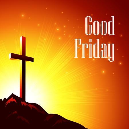 Dobrý Pátek. Vektorové ilustrace s obrazem Kalvárie