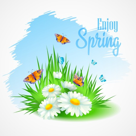 Spring greeting card with daisies. Vector illustration  向量圖像
