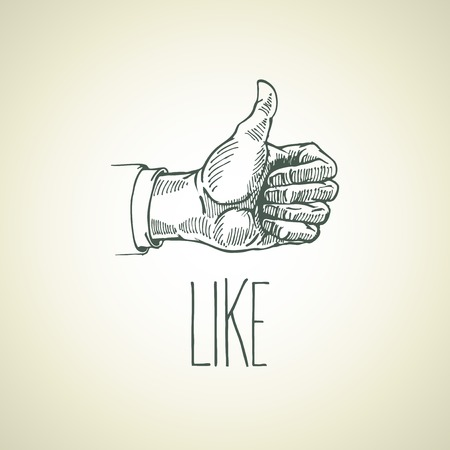nice guy: Vintage hand-drawn hand sign like. Vector illustration Illustration