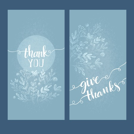 hand with card: Card with the words thank you. Vector illutration