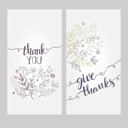 sign card: Card with the words thank you. Vector illutration