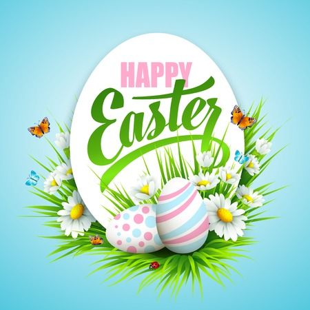 Easter poster with eggs and flowers. Vector illustration Stock Illustratie