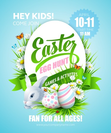Easter poster with eggs and flowers. Vector illustration Illustration