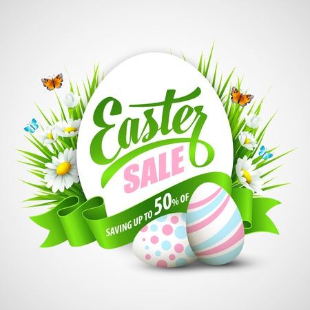 Easter poster with eggs and flowers. Vector illustration Çizim