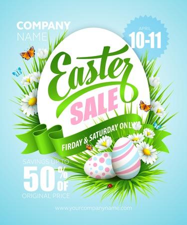 egg cartoon: Cartel de Pascua con huevos y flores. Ilustraci�n vectorial