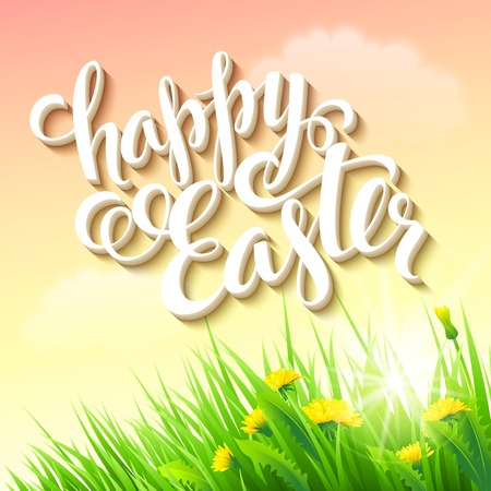Easter posterwith grass and flowers. Vector illustration Illustration