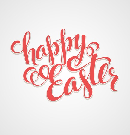 Title Happy Easter. Hand  drawn lettering. Vector illustration