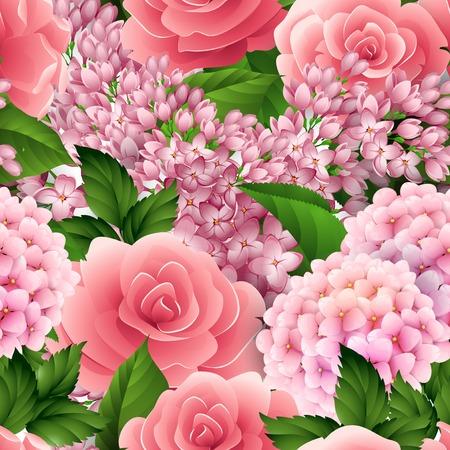 Vector naadloos bloempatroon met roze en sering Stock Illustratie