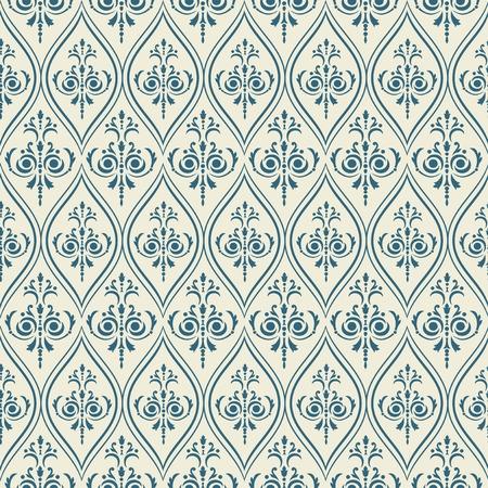 classic art: Damask pattern Seamless vintage background. Vector illustration.