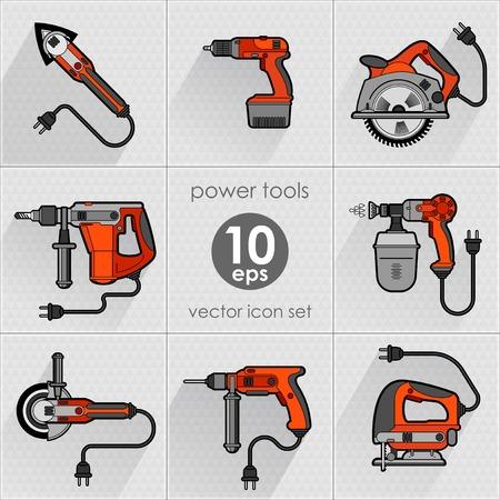 chuck: Power tool set. Vector illustration. Builder equipment