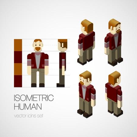 Office uniforms: Vector el conjunto isom�trica humano. Icono de ilustraci�n vectorial